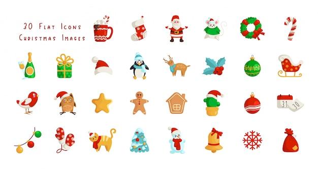 Iconos planos de navidad kawaii - santa claus, calendario, caja de regalo, árbol de navidad
