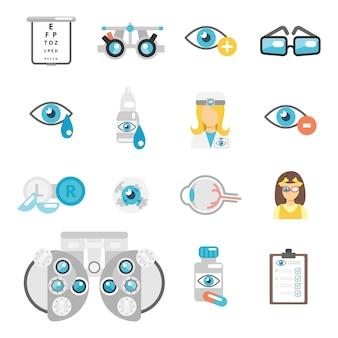 Iconos planos de oculista