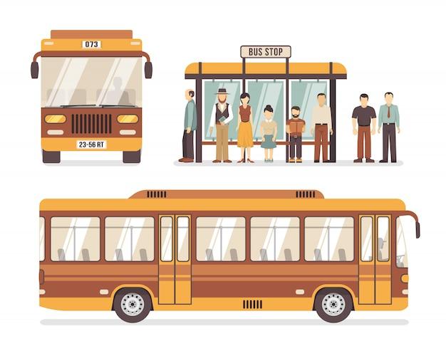 Iconos planos de la parada de autobús de la ciudad