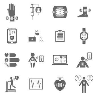 Iconos planos de parche electrónico inteligente portátil