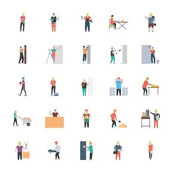 Iconos planos de personas de construcción