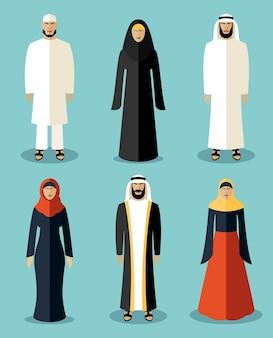Iconos planos de personas musulmanas