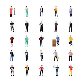 Iconos planos de personas profesionales