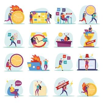 Iconos planos de plazo con personajes humanos apresurados y preocupados durante el trabajo aislado