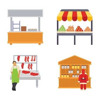 Iconos planos de puestos de comida