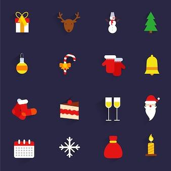 Los iconos planos de los regalos de vacaciones del año nuevo de navidad fijaron el ejemplo aislado del vector