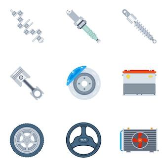 Iconos planos de repuestos de coche. herramienta y reparación, motor de diseño y vector de ilustración de rueda