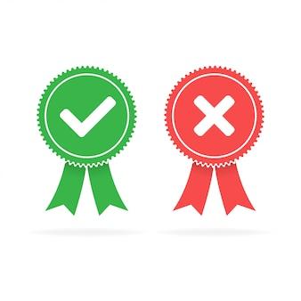 Iconos planos rojos aprobados verdes y rechazados