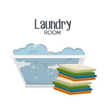 Iconos planos de sala de lavandería