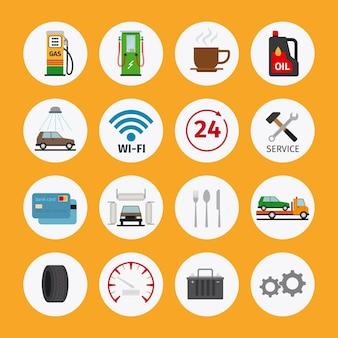 Iconos planos de servicio de coche. mantenimiento y reparación de vehículos
