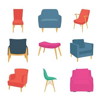 Iconos planos de sillas y sofás
