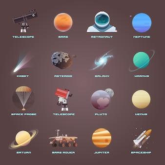 Iconos planos sobre el tema: astronomía, vuelo espacial, exploración espacial, colonización, tecnología espacial. iconos del espacio