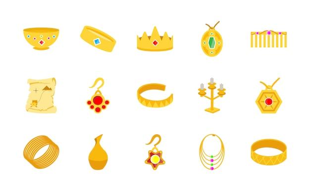Iconos planos de tesoro de oro