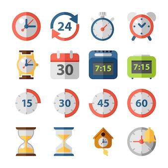 Iconos planos de tiempo y reloj