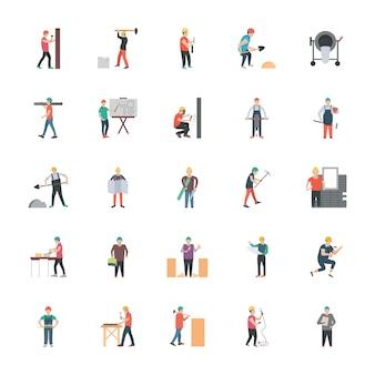 Iconos planos de trabajador de construcción