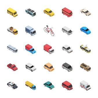 Iconos planos de transporte