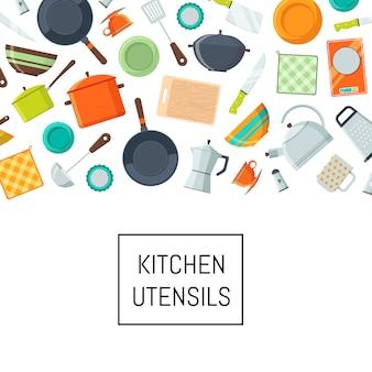 Iconos planos de utensilios de cocina