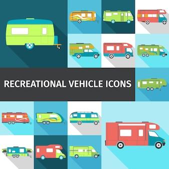 Iconos planos de vehículos recreativos