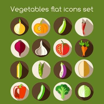 Iconos planos de verduras