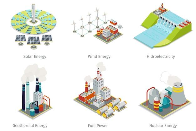 Iconos de la planta de energía. plantas y fuentes de generación eléctrica.