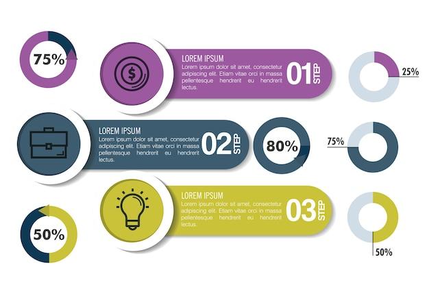 Iconos de plantilla de infografía de negocios