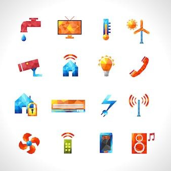 Iconos poligonales de la casa inteligente