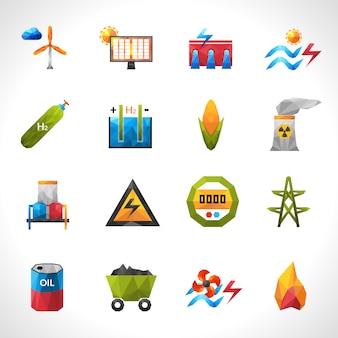Iconos poligonales de planta de energía