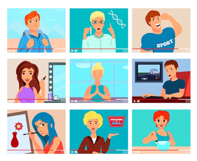 Iconos populares de blogueros de video con temas de cocina, viajes, ejercicios, meditación