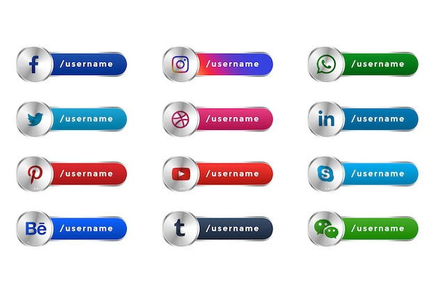 Iconos populares de las redes sociales de mettalic web banners del tercio inferior