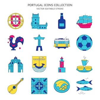 Iconos de portugal establecidos en estilo de línea