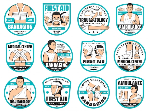 Iconos de primeros auxilios, vendaje, traumatología y emergencias.
