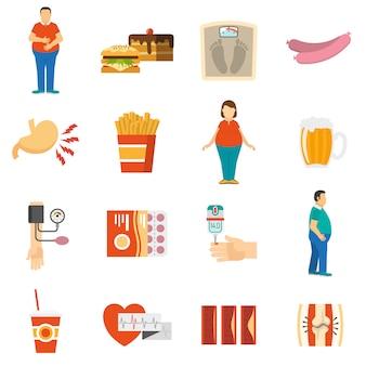 Iconos de problemas de obesidad