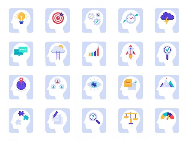 Iconos de proceso de pensamiento cerebral. idea de negocio, solución de éxito en conjunto de iconos de psicología de cabeza de empresario y cerebro humano