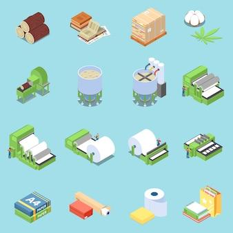 Iconos de producción de papel con símbolos de impresión isométrica aislado