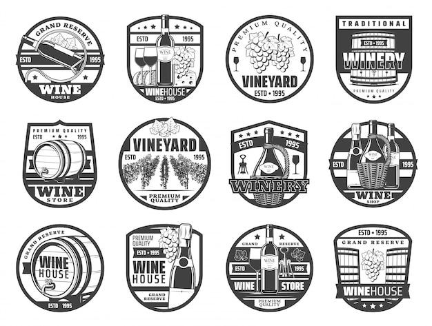Iconos de producción de vino, bodega y tienda.