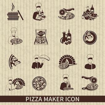 Iconos de productor de pizzas