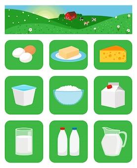 Iconos de productos lácteos en cuadrados verdes.