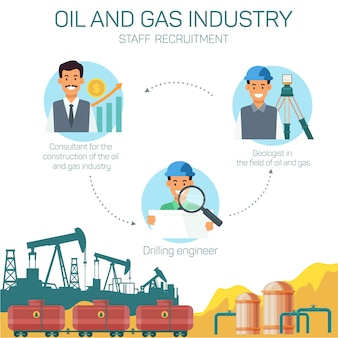 Iconos con profesiones de tipo en la industria de petróleo y gas
