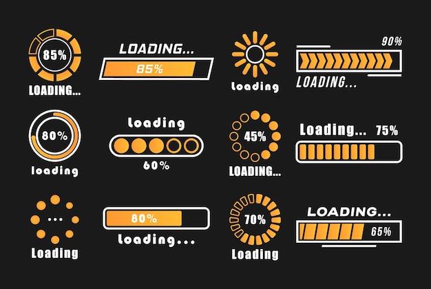 Iconos de progreso de la barra de carga, signo de carga. un conjunto de indicadores aislados