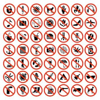 Iconos prohibidos. prohibir los símbolos rojos sin motocicleta, animales, pistolas, teléfonos con sonido, estacionamiento, automóvil, conjunto de vectores. ilustración prohibida gran colección, prohibida y restringida.