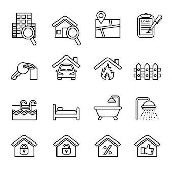 Iconos de las propiedades inmobiliarias fijados con el fondo blanco.