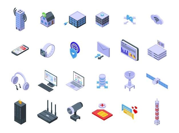 Los iconos del proveedor de internet establecen vector isométrico. servicio de acogida. servidor de datos