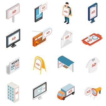 Iconos de publicidad establecidos en estilo isométrico 3d