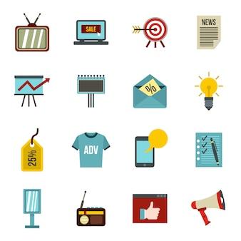 Iconos de publicidad establecidos en estilo plano