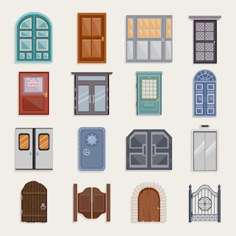 Iconos de puerta planos