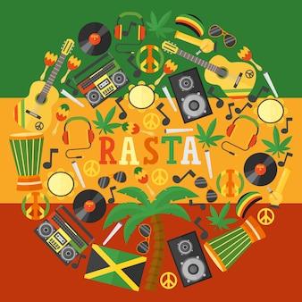 Iconos rastafaris de jamaica en composición de marco redondo