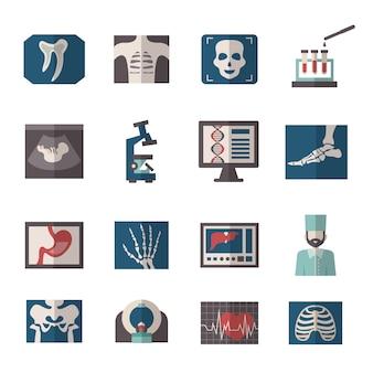 Iconos de rayos x de ultrasonido planos