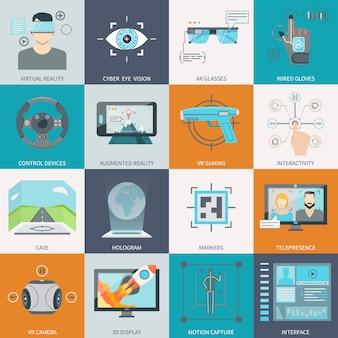 Iconos de realidad virtual aumentada