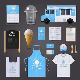 Los iconos realistas de la identidad corporativa del helado fijados con el menú del delantal y la furgoneta aislaron el vector illustrati