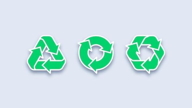 Iconos de reciclaje verde